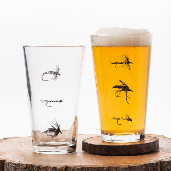 Fly Fishing Flies Pint Glasses