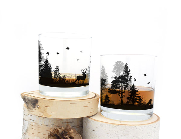 Forest animal rock glasses