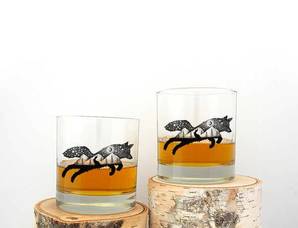 The Fox and Hare Whiskey Glasses