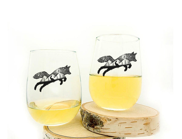 Fox and Hare Wine Glasses