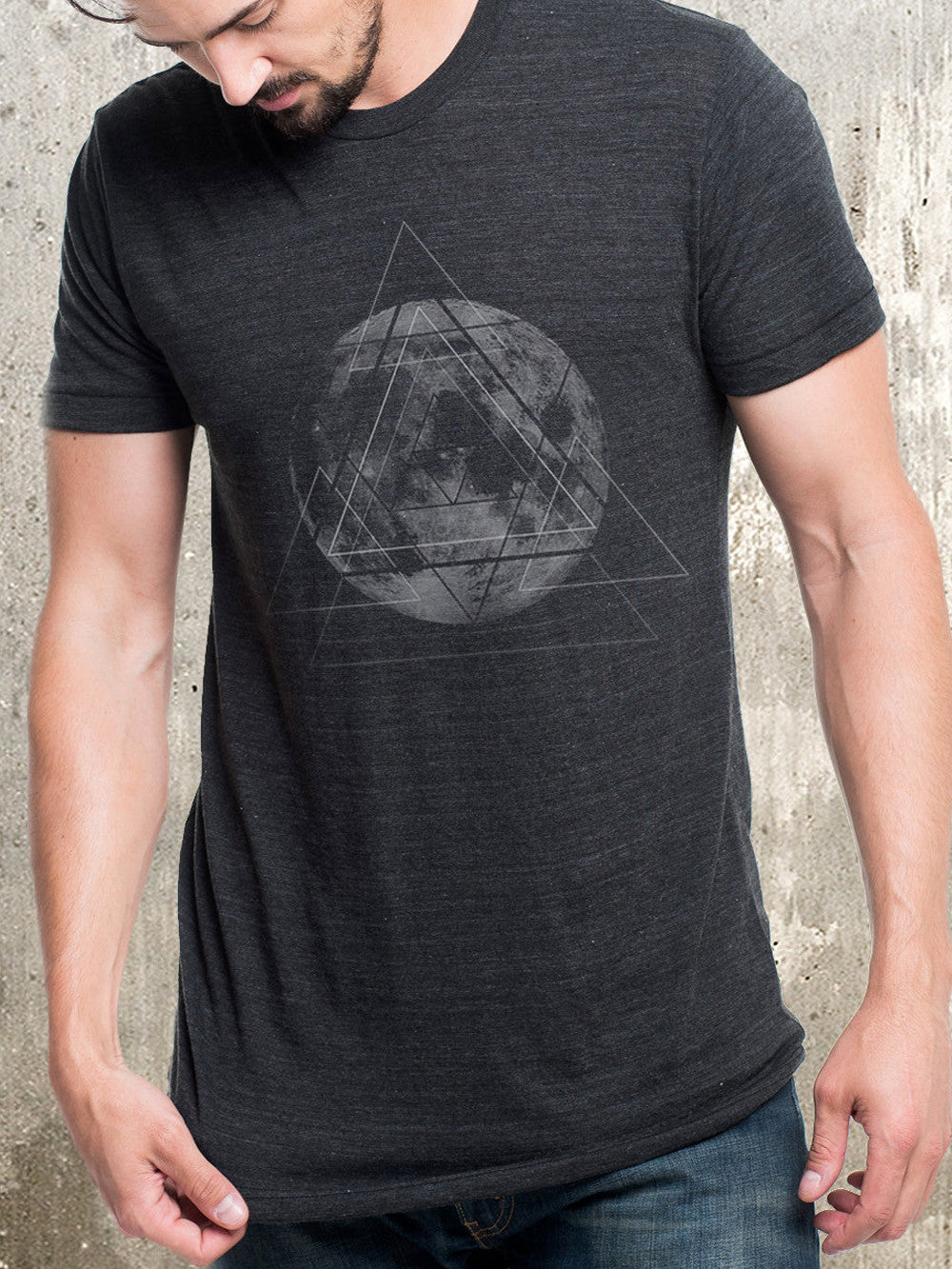 Full Moon And Geometry Men S Tri Blend T Shirt