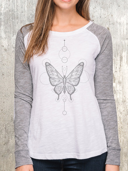 Women's Butterfly Long Sleeve Patch Shirt
