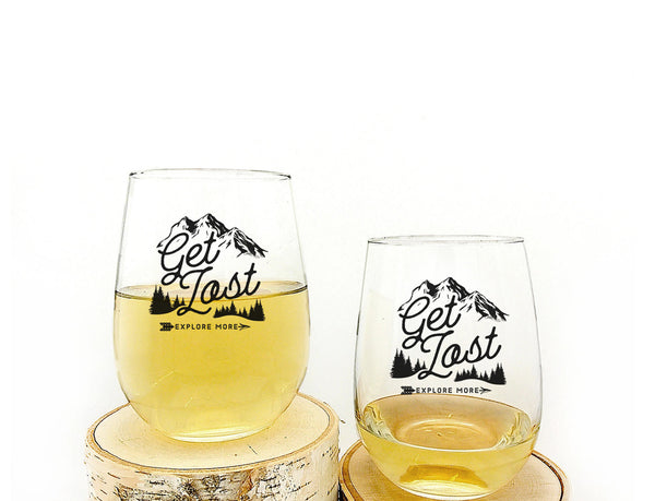 Get Lost Explore Wine Glasses