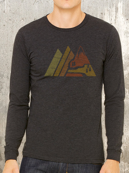 Men's Long Sleeve Shirt - Retro Mountain Range