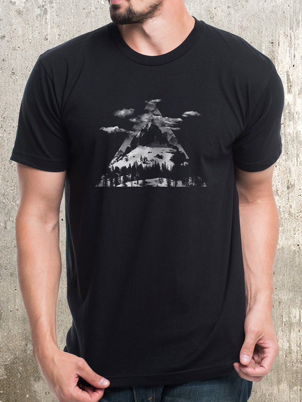 Mountains Clouds And Triangles T Shirt