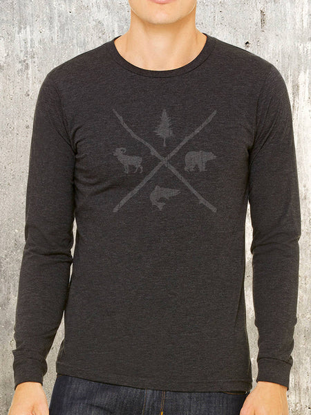 Men's Long Sleeve Tee - Pine Bear Trout Bighorn