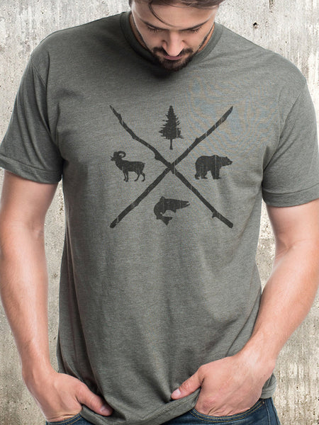 Men's Pine Bear Trout Bighorn T-Shirt