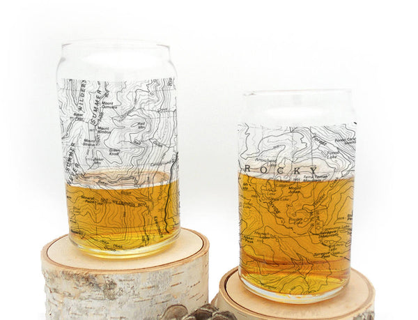 Rocky Mountain Map Can Glasses