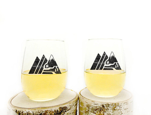 Retro Mountain Wine Glasses