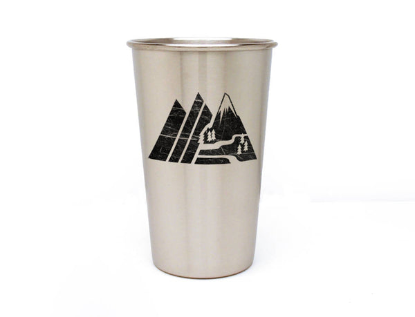 Retro Mountain Range Stainless Pint