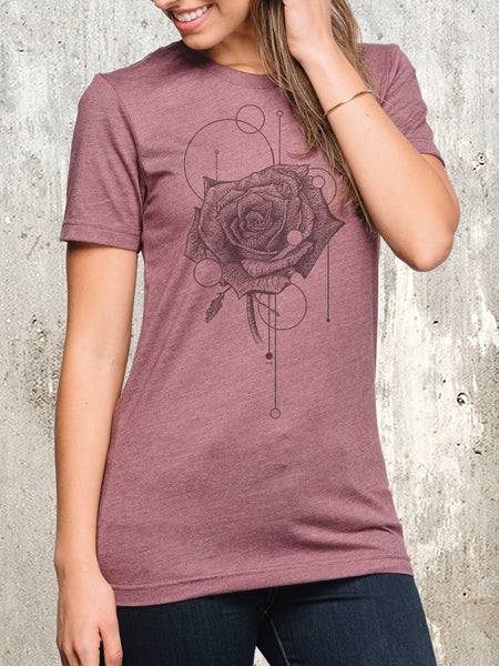 Women's Rose and Geometry T-Shirt