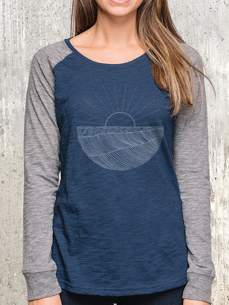 Women's Long Sleeve Patch Tee - Waves and Rays