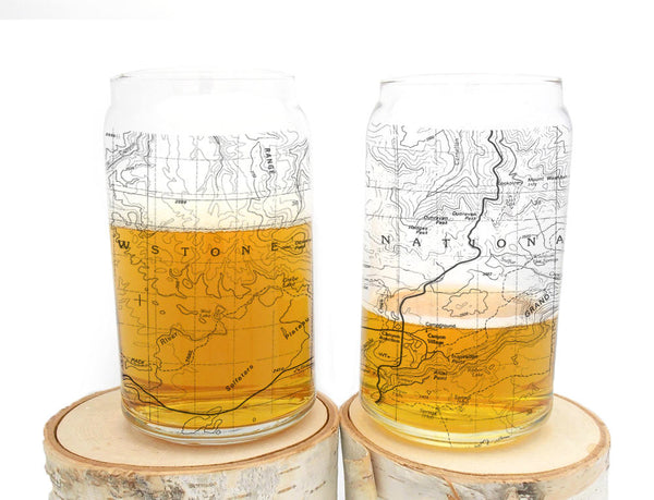 Yellowstone Map Can Glasses