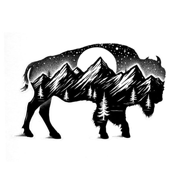 Buffalo and Forest - Die Cut Sticker