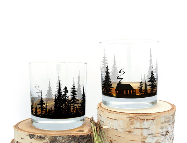 Cabin in the Forest Whiskey Glasses