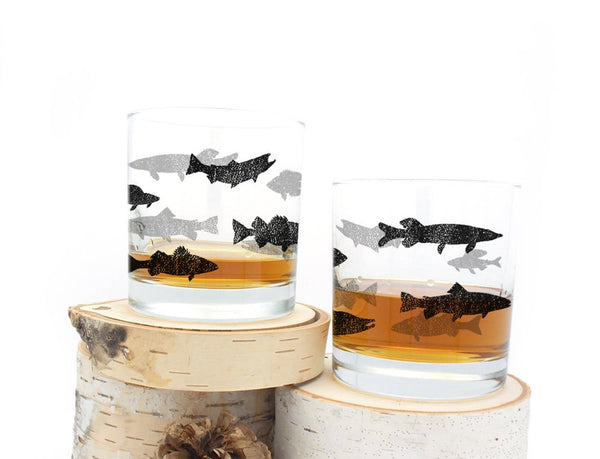 Fish Silhouettes Whiskey Glasses