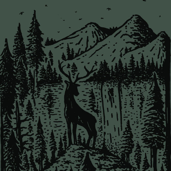 Forest, Elk and Mountain