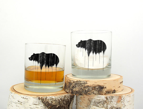 Bear Above Treeline Glasses- Crawlspace Studios