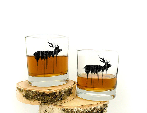 Elk Above Tree Line Glasses- Crawlspace Studios