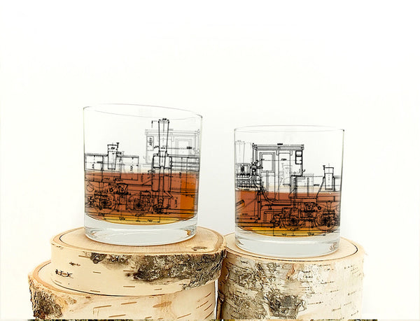 Locomotive Blueprints Glasses- Crawlspace Studios