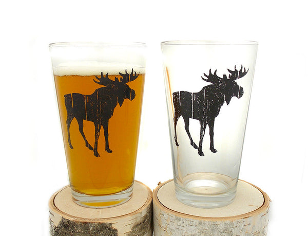 Rustic Moose Glasses- Crawlspace Studios