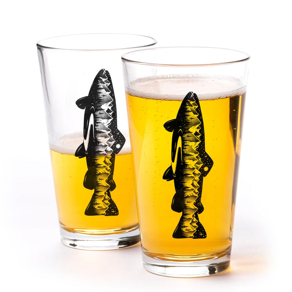 Mountain Trout Pint Glasses