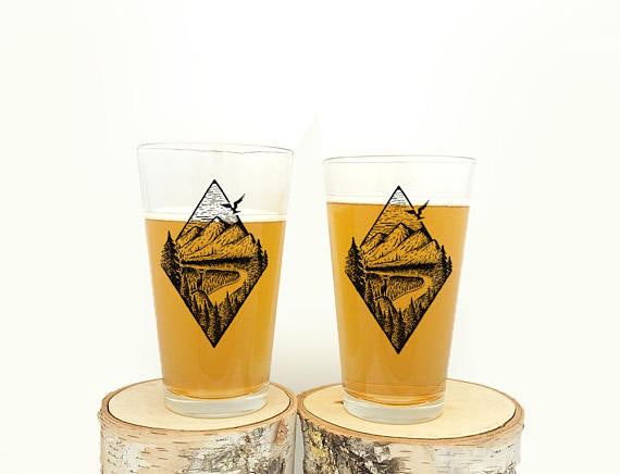 River Mountain Forest Pint Glasses