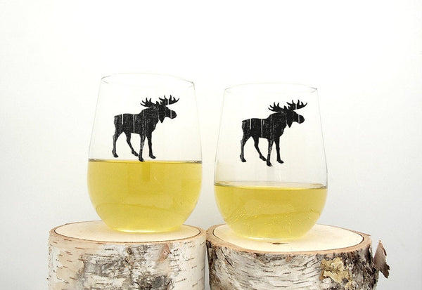 Rustic Moose Wine Glasses