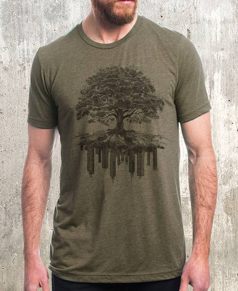 Tree & Crumbling City T-Shirt - Olive
