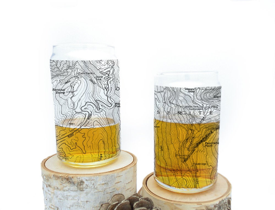 Yosemite National Park Topographic Map Can Glasses