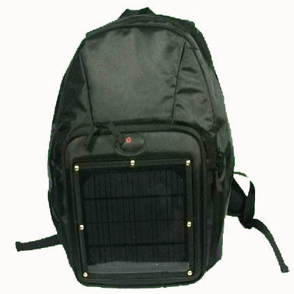 Backpack with solar charger for mobile phones