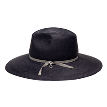 Load image into Gallery viewer, Midnight blue panama hat handmade of toquilla straw - panama style fedora for spring summer 2020.