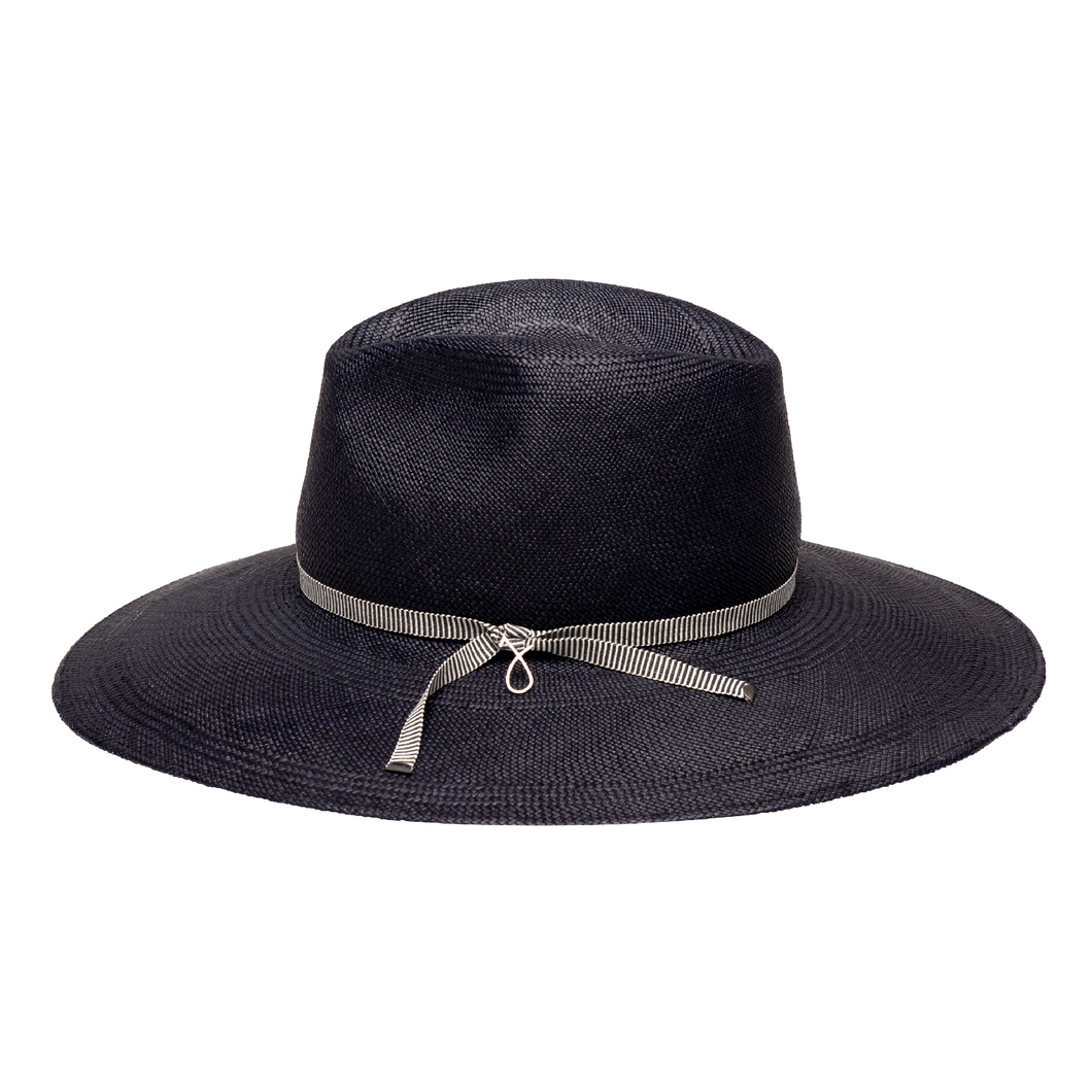 Midnight blue panama hat handmade of toquilla straw - panama style fedora for spring summer 2020.