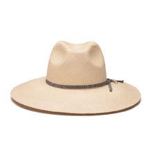 "Load image into Gallery viewer, Reinvented classic style of the fedora straw hat, this sun toquilla hand-woven hat is trimmed with a cotton ribbon made in Italy and a signature ""J"" for Jolie Su letter. Its wide perfectly shaped brim will protect your faces from sun rays. Wear with on the beach and in the city to uplift your everyday style."