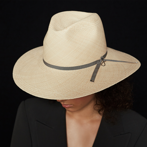 Reinvented classic fedora style sun hat handmade in Spain and Poland from hand-woven toquilla straw in Ecuador.