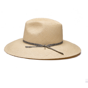 Simple and elegant hat in classic fedora style made of natural straw in sand colour.