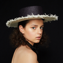 Load image into Gallery viewer, SS20 Marina inspired sun is meticulously made by hand. The contrasting colours of the crown and wide brim with frayed edges make the hat a desirable and elegant yet relaxed accessory.