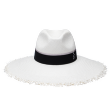 Load image into Gallery viewer, White, elegant panama hat trimmed with a black and silver band. Frayed edge hat adds an effortless yet chic vibe to your summer style.