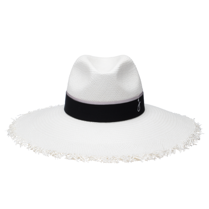 White, elegant panama hat trimmed with a black and silver band. Frayed edge hat adds an effortless yet chic vibe to your summer style.