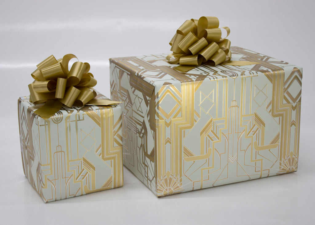 Great Catsby Cream, Metallic Gold and Silver Wrapping Paper
