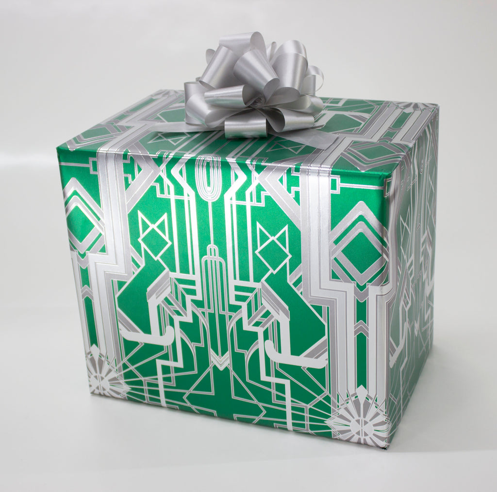 Great Catsby Metallic Green and Silver Wrapping Paper
