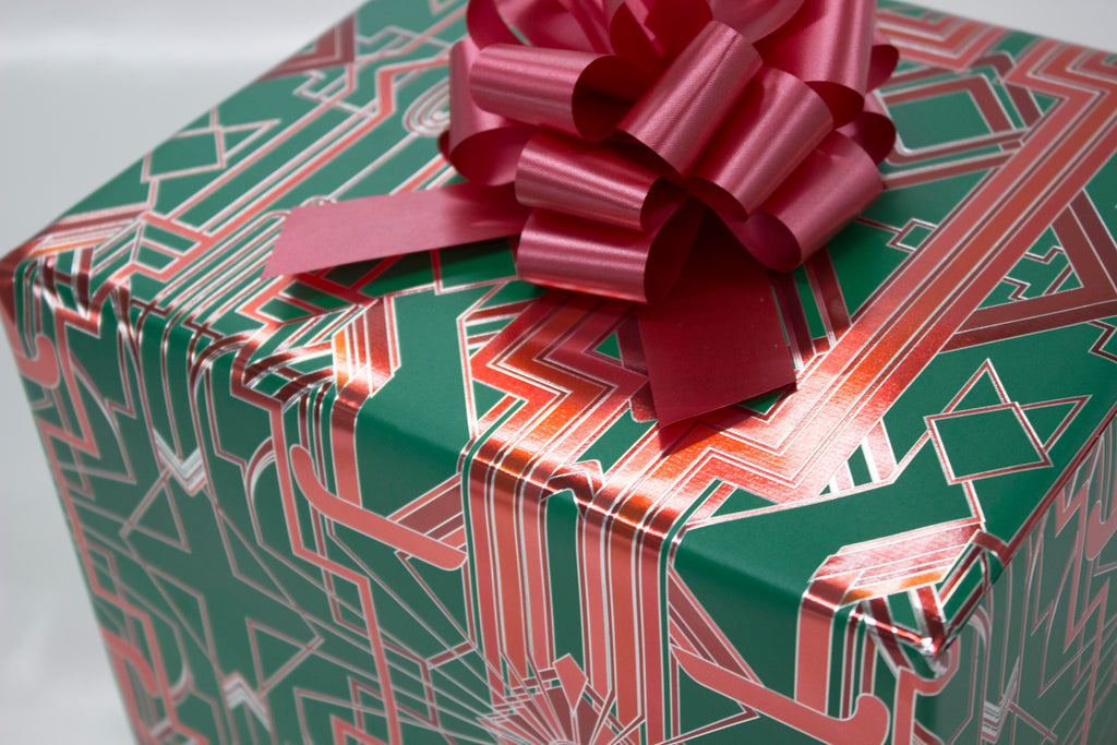 Great Catsby Metallic Holiday Green, Red and Silver Wrapping Paper