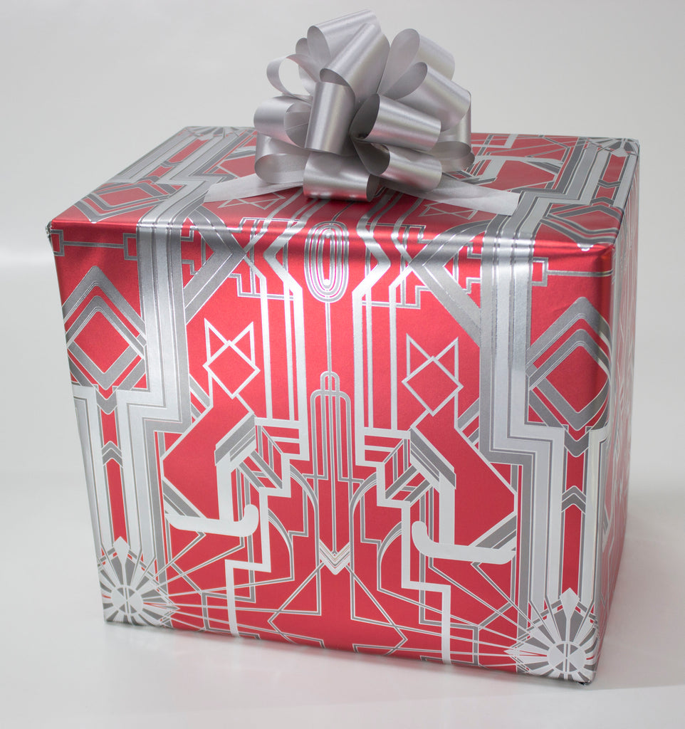 Great Catsby Metallic Red and Silver Wrapping Paper