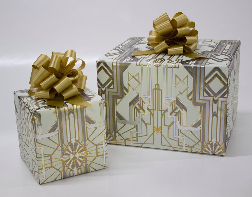 Great Catsby Cream, Metallic Silver and Gold Wrapping Paper