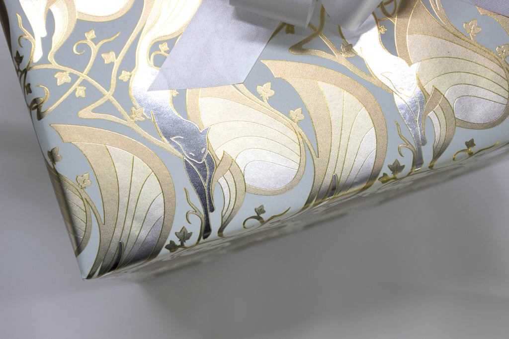 Mew-Veau Cream, Metallic Gold and Silver Wrapping Paper