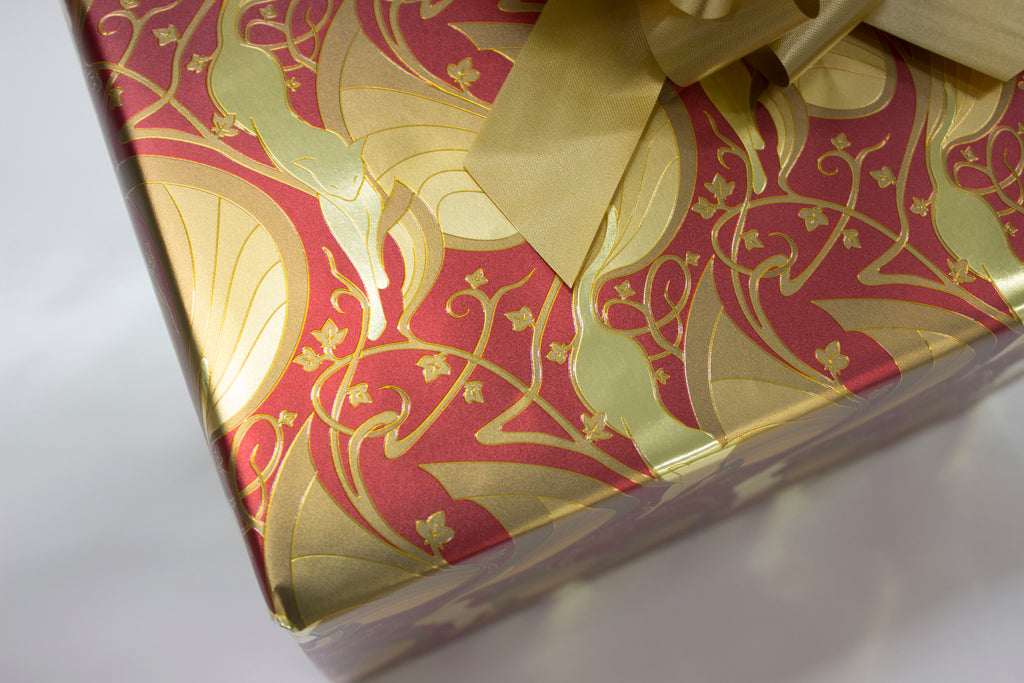 Mew-Veau Metallic Gold and Red Wrapping Paper