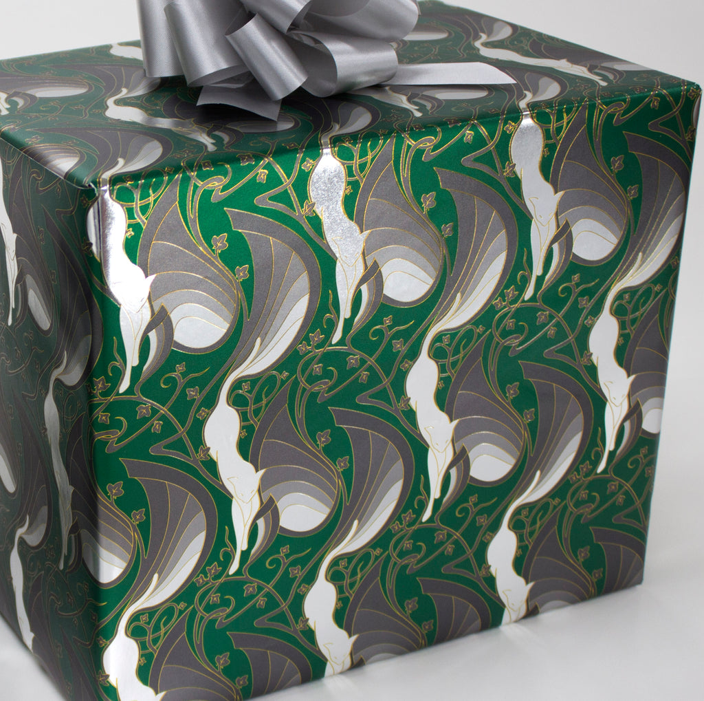 Mew-Veau Forrest Green and Metallic Silver Wrapping Paper
