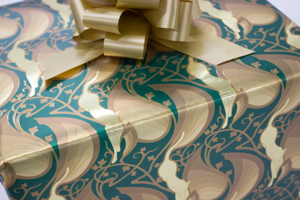 Mew-Veau Metallic Gold and Green Wrapping Paper