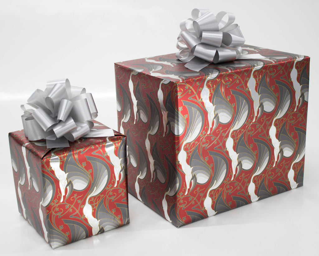 Mew-Veau Red and Metallic Silver Wrapping Paper
