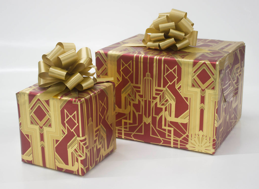 Great Catsby Metallic Red and Gold Wrapping Paper